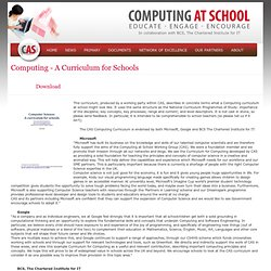 Computing - A Curriculum for Schools