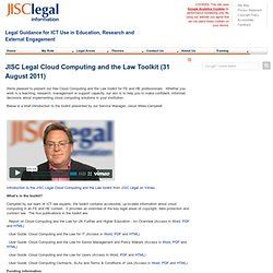 JISC Legal Cloud Computing and the Law Toolkit (31/08/2011) > JISC Legal > ManageContent
