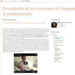 Descripción de los trastornos del lenguaje y la comunicación: Trastorno de la articulación y expresión del habla: Disartrias