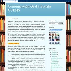 Comunicación Oral y Escrita CUEMS: Ensayo (Definición, Estructura y Características)
