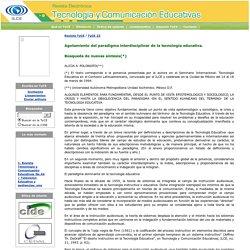 Revista Tecnología y Comunicación Educativas No. 23 / Agotamiento del paradigma interdisciplinar
