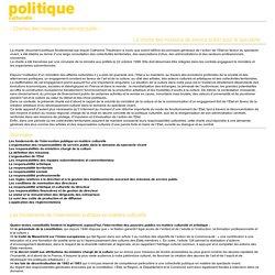 Ministère de la culture et de la comunication: Politique culturelle - Chartes des missions de service public