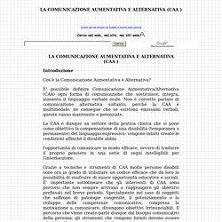LA COMUNICAZIONE AUMENTATIVA E ALTERNATIVA (CAA )