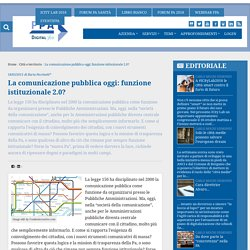 La comunicazione pubblica oggi: funzione istituzionale 2.0?