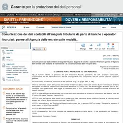 Comunicazione dei dati contabili all'anagrafe tributaria da parte di... - Garante Privacy