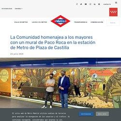 La Comunidad homenajea a los mayores con un mural de Paco Roca en la estación de Metro de Plaza de Castilla