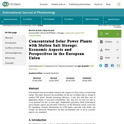Concentrated Solar Power Plants with Molten Salt Storage: Economic Aspects and Perspectives in the European Union
