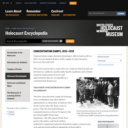 Concentration Camps, 1933–1939