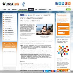 Improve Your Concentration - Time Management Training from MindTools