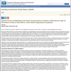 Optimal Serum and Red Blood Cell Folate Concentrations in Women of Reproductive Age for Prevention of Neural Tube Defects: World Health Organization Guidelines