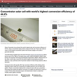 Concentrator solar cell with world's highest conversion efficiency of 44.4%