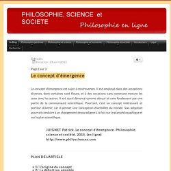 Le concept d'émergence - PHILOSOPHIE, SCIENCE ET SOCIETE