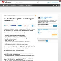 The Proof of Concept Pilot methodology of ERP selection
