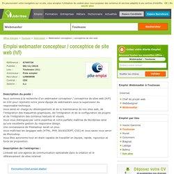 Webmaster concepteur / conceptrice de site web CDI - Toulouse (31)