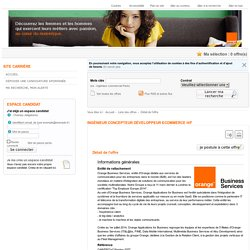 Orange NRS - Ingénieur concepteur développeur eCommerce H/F
