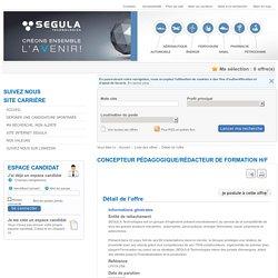 SEGULA FRANCE - Concepteur pédagogique/rédacteur de formation H/F