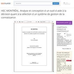 ⭐HEC MONTRÉAL. Analyse et conception d un outil d aide à la décision quant à la sélection d un système de gestion de la connaissance