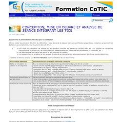 Conception, mise en oeuvre et analyse de séance intégrant les TICE - Formation CoTIC