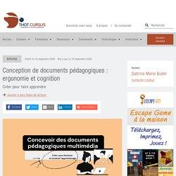 Conception de documents pédagogiques : ergonomie et cognition - Thot Cursus