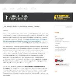 Une thèse sur la conception de Serious Games !