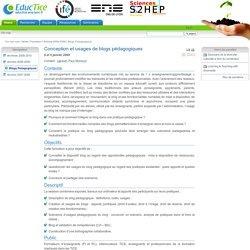 Conception et usages de blogs pédagogiques