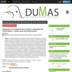 Pratiques et conceptions de la notion « évaluation de l'information » : pistes pour une didactisation