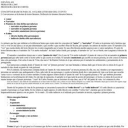 CONCEPTOS BÁSICOS PARA EL ANÁLISIS LITERARIO DEL CUENTO