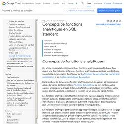 Concepts de fonctions analytiques en SQL standard