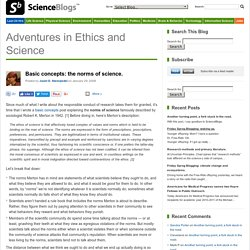 Basic concepts: the norms of science. – Adventures in Ethics and Science