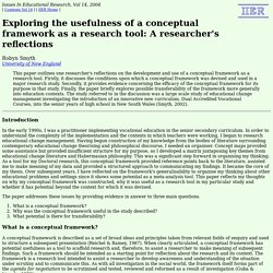IIER 14: Smyth - a conceptual framework as a research tool