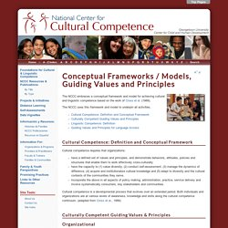 Conceptual Frameworks / Models, Guiding Values and Principles