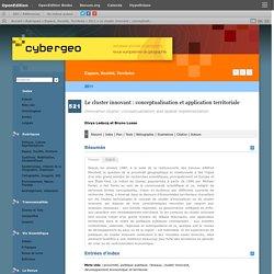 Le cluster innovant: conceptualisation et application territoriale