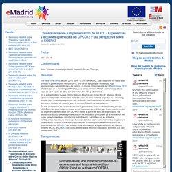 Conceptualización e implementación de MOOC - Experiencias y lecciones aprendidas del OPCO12 y una perspectiva sobre el COER13