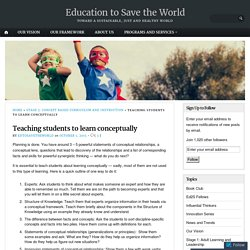 Teaching students to learn conceptually – Education to Save the World
