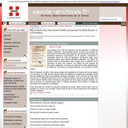 Document inédit concernant le Saint Suaire à Chambéry - Archives départementales de Savoie