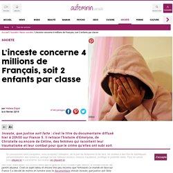 L'inceste concerne 4 millions de Français, soit 2 enfants par classe