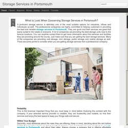 Storage Services in Portsmouth: What to Look When Concerning Storage Services in Portsmouth?