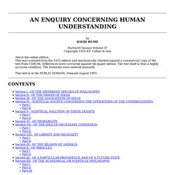 Hume: Enquiry Concerning Human Understanding