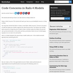 Code Concerns in Rails 4 Models - RichOnRails.com
