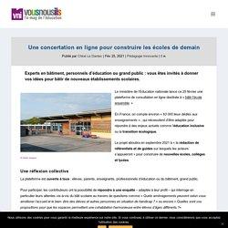 Une concertation en ligne pour construire les écoles de demain