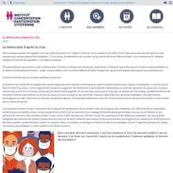 La démocratie d'après la crise – Institut de la Concertation et de la Participation Citoyenne
