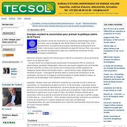 23/12/10 Enerplan soutient la concertation pour préciser la politique solaire de la France - tecsol