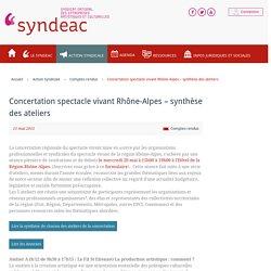 Concertation spectacle vivant Rhône-Alpes - synthèse des ateliers
