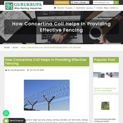 How Concertina Coil Helps In Providing Effective Fencing