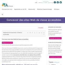 Concevoir des sites Web de classe accessibles - TA@l'école