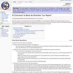 """Fr:Concevoir la Base de Données """"sur Papier"""" - NeoWiki"""