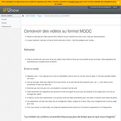 Concevoir des vidéos au format MOOC: MOOC DEMO