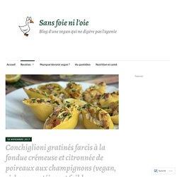 Conchiglioni gratinés à la fondue de poireaux