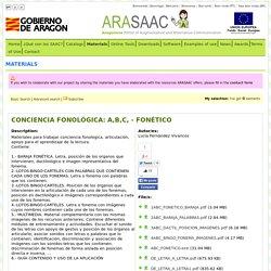 ARASAAC - Materials: CONCIENCIA FONOLÓGICA: A,B,C, - FONÉTICO