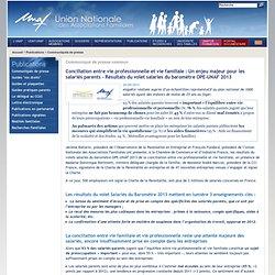 Conciliation entre vie professionnelle et vie familiale: Un enjeu majeur pour les salariés parents - Résultats du volet salaries du baromètre OPE-UNAF 2013